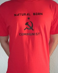 Natural Born Communist T-Shirt - L ( RED SHIRT)