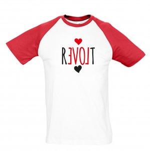 REVOLT - Baseballshirt (Rot/Weiss) Groß T-Shirt