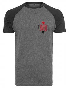 REVOLT - Baseballshirt (Grau/Schwarz) Pocketprint T-Shirt